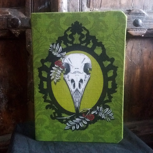 A5 notebook - Crow Skull on green
