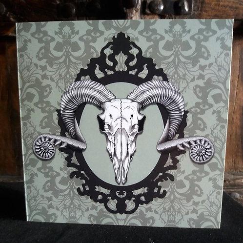 """Ram Skull - 6"""" square greetings card"""