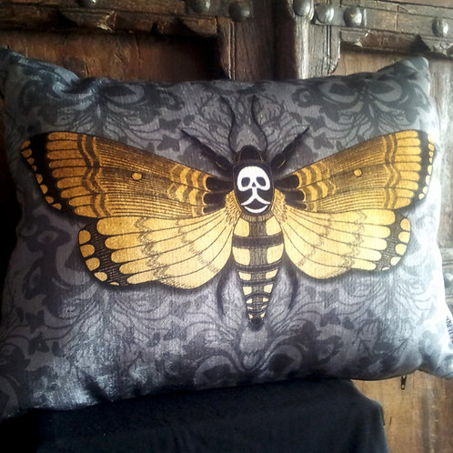 Deaths-Head Hawkmoth Cushion - Grey (Bayeux Velvet)