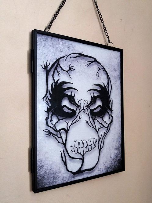 Framed Linen fabric Art print - Demon Skull