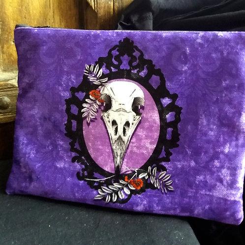 Large Velvet Zip Pouch - Crow Skull - Violet