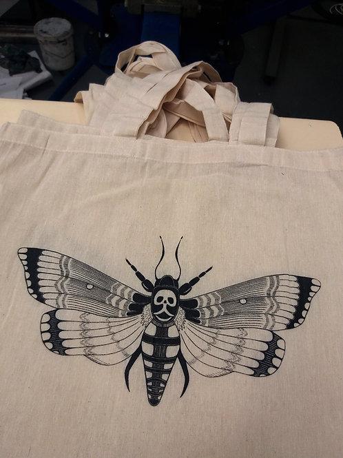Tote bag white - Deaths Head Hawk moth print (black)