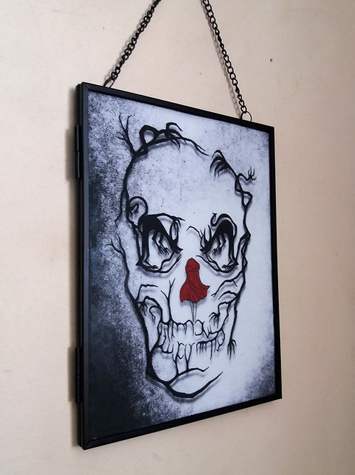 Framed Linen fabric Art print - Red Riding Skull