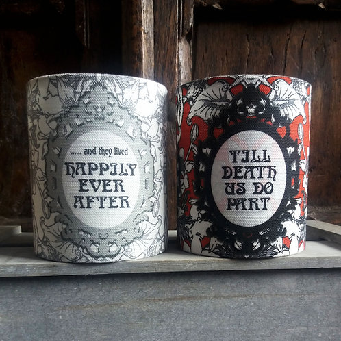 small fabric lantern - 'Till Death or Happily Ever After'