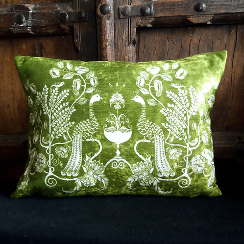 Cushion - Peacock Chalice - olive green