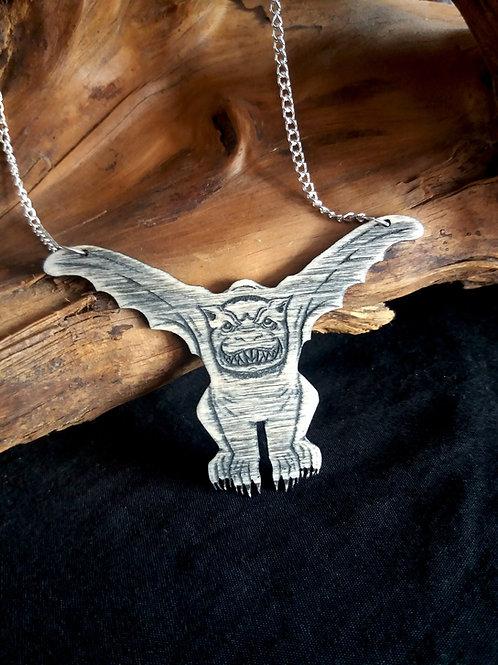 Lasercut Wooden necklace - Gargoyle