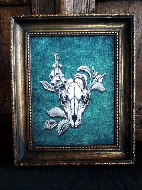 Framed Velvet fabric print - Fox Skull