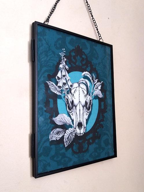 Framed Linen fabric Art print - Fox Skull - Jade