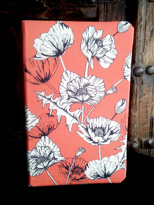 A5 notebook -Poppies on red