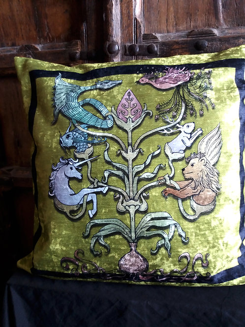 Mythological Totem Cushion - Green