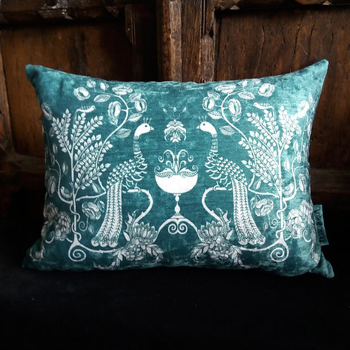 Cushion - Peacock Chalice - powder blue