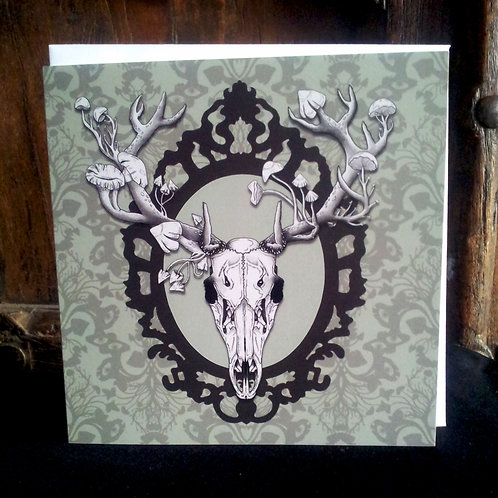 "Deer Skull - 6"" square greetings card"