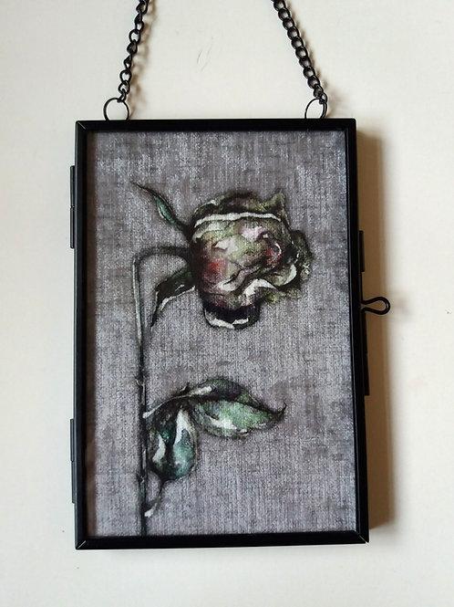 small Framed Velvet fabric Art print - Dead Rose