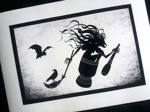 A3 or A4 Art Print - Flying Baba Yaga