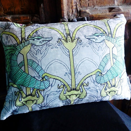 Victorian Gothic 'Dragon' Cushion  (Bayeux Velvet)