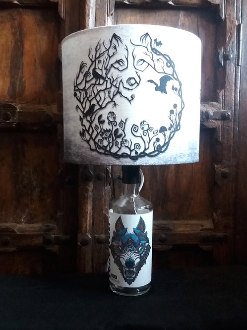 "Bottle lamp with 25cm (10"") Lamp shade - Lone Wolf with Into the woods"