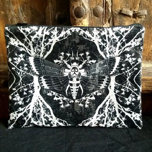 Large Velvet Zip Pouch - Ghost Moth - Black
