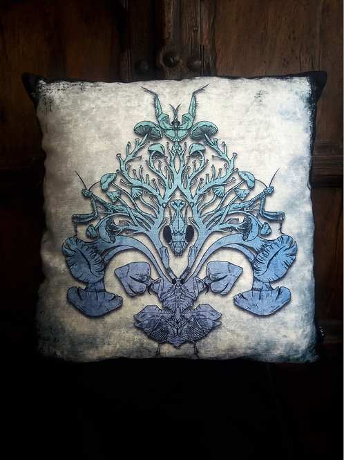 Mantis/Mushroom Cushion - Blues (Bayeux Velvet)