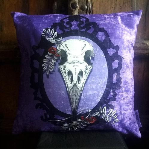 Crow Skull Cushion - On Purple (Bayeux Velvet)