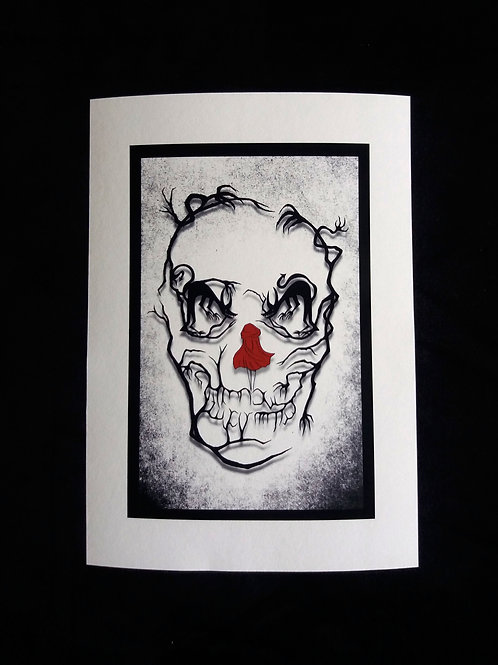 A3, A4 or A5- Red Riding Hood Skull Art Print