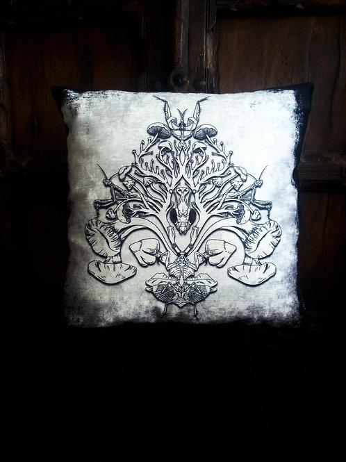Mantis/Mushroom Cushion - B/W (Bayeux Velvet)