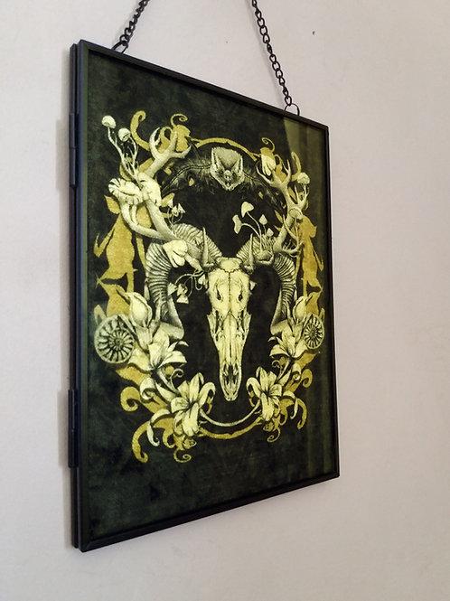 Framed Velvet fabric Art print - Spring Resurrection - Black and Gold
