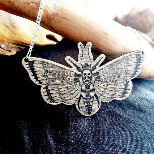 Lasercut Wooden necklace - Deaths Head Hawkmoth
