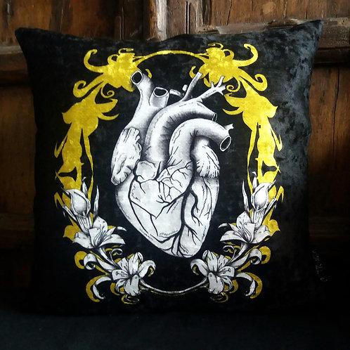 Anatomical Heart Cushion - black and gold
