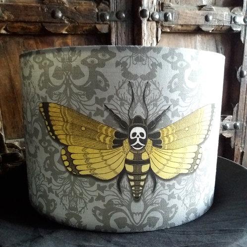 """25cm (10"""") Lamp shade - 'Deaths head Hawkmoth' GREY"""