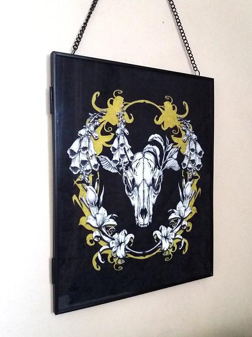 large Framed Velvet fabric Art print - Spring Fox - black and gold