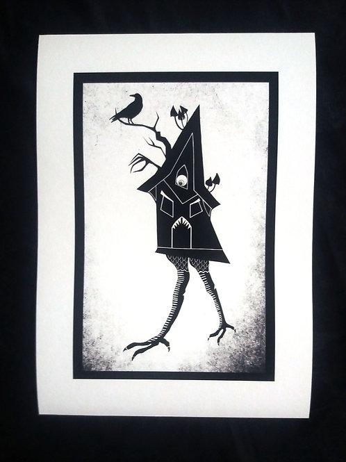 A3 or A4 Art Print - Baba Yaga's Chicken Legged Hut
