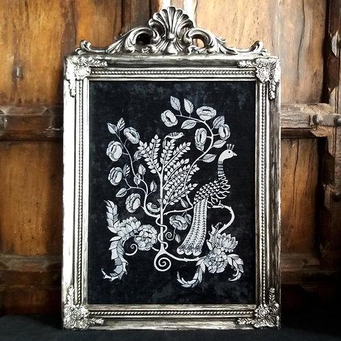 large Framed Velvet Print - Silver Peacock