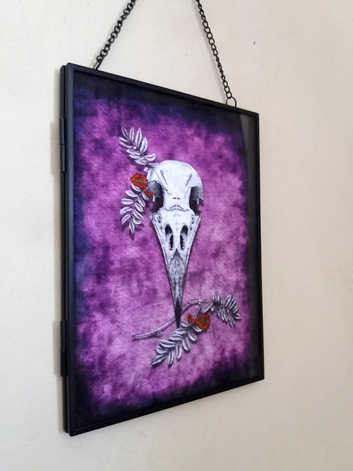 Framed Velvet fabric Art print - Crow Skull - Purple