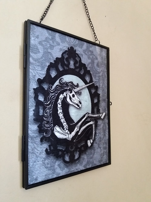 Framed Velvet fabric Art print - Unicorn Skeleton