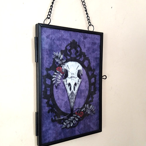 small Framed Velvet fabric Art print - Crow Skull - Purple