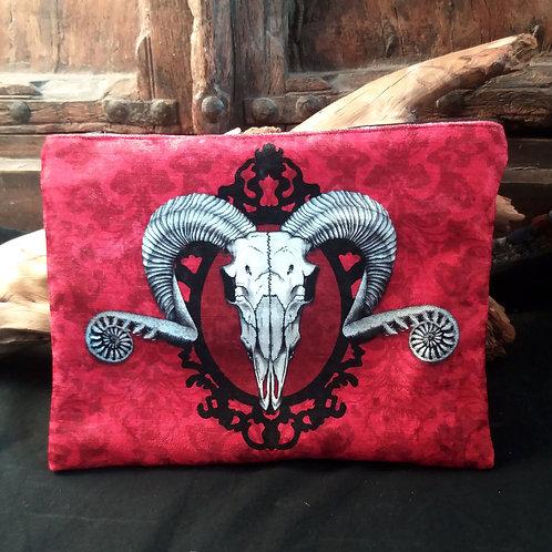 Large Velvet Zip Pouch - Ram Skull - Red
