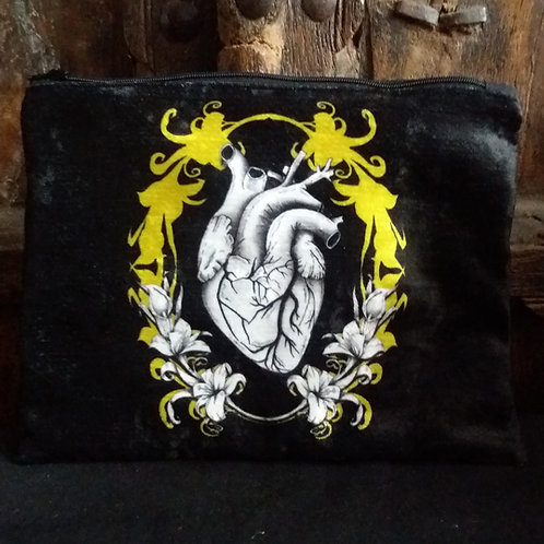 Large Zip Pouch - Anatomical Heart Black and Gold