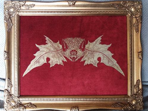 Framed Velvet Print - Screenprint Gold Mr. Bat