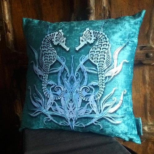 Seahorse Cushion - Bayeux Velvet