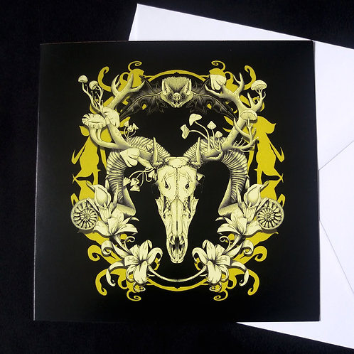 "Spring Resurrection black and gold - 6"" square greetings card"