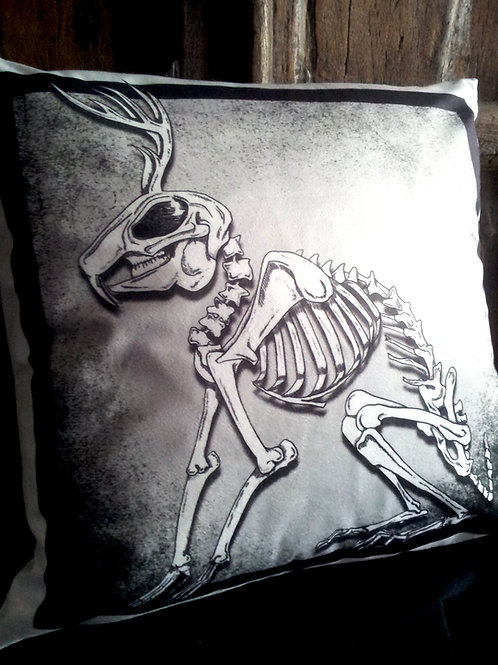 Jackalope Skeleton Cushion (Faux Suede)