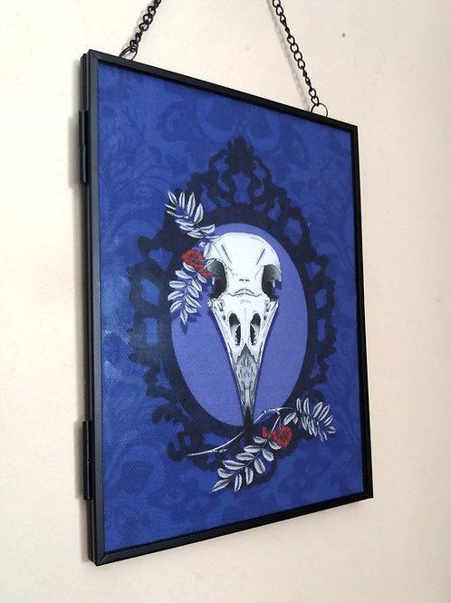 Framed Linen fabric Art print - Crow Skull - Purple