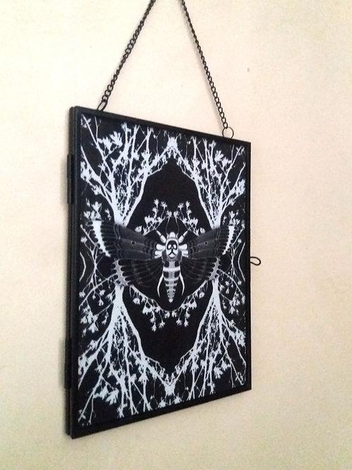 Framed Linen fabric Art print - Ghost moth - black