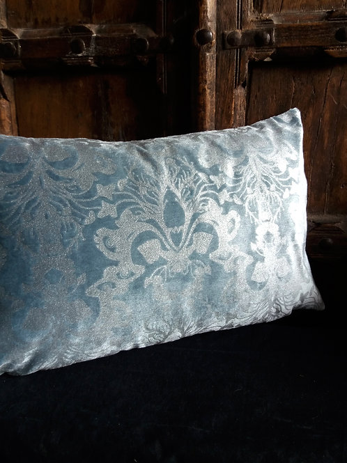Victorian Gothic Damask Cushion - silver ink on Blue Velvet Rectangle