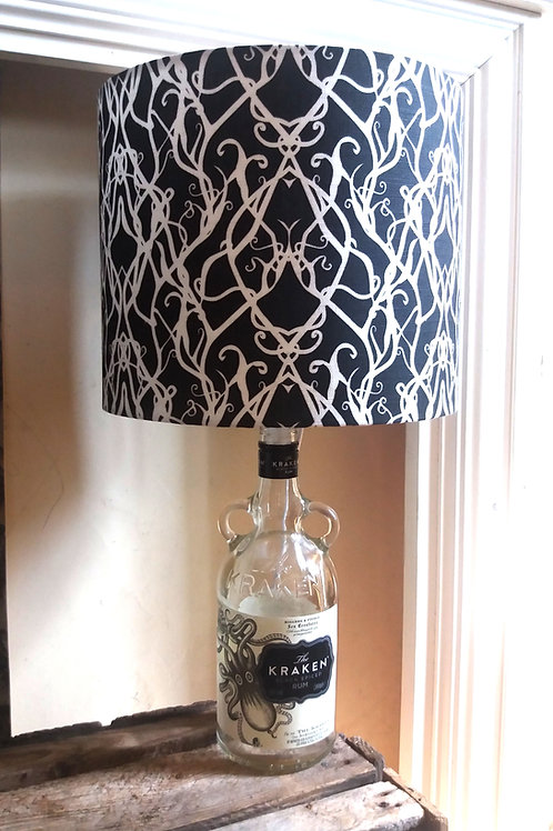 "Bottle lamp with 25cm (10"") Lamp shade - 'Vines'"