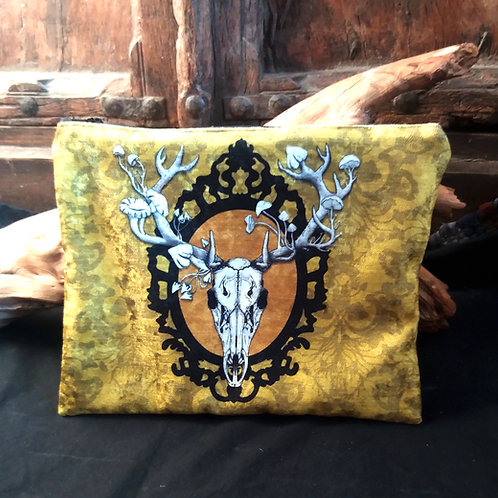Large Velvet Zip Pouch - Deer Skull - Yellow