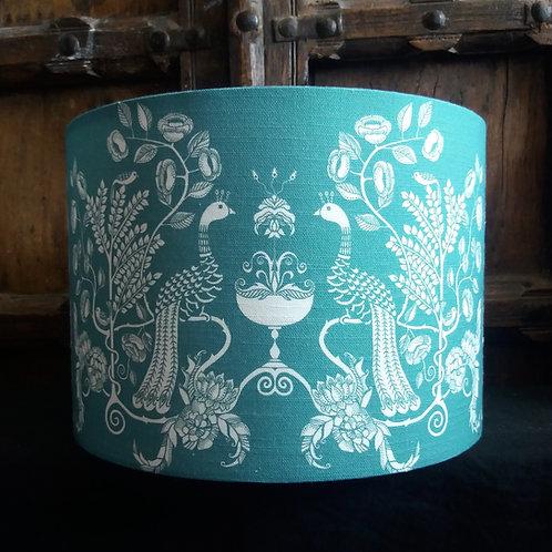"25cm (10"") Lamp shade - 'Peacock Chalice' powder blue"