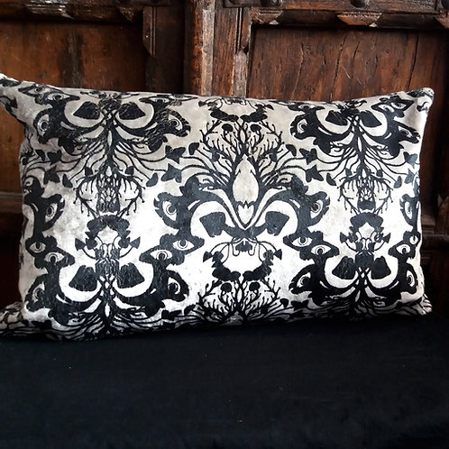 Victorian Gothic Damask Cushion - Antique Silver with Black ink