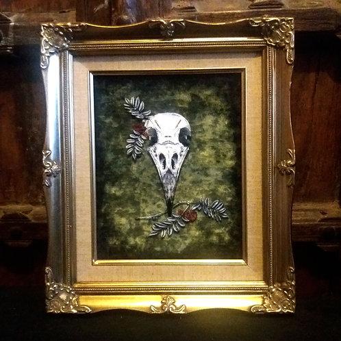 Framed Bayeux Velvet fabric print - Crow Skull