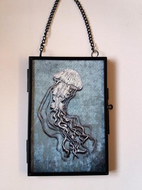 small Framed Velvet fabric Art print - Jellyfish